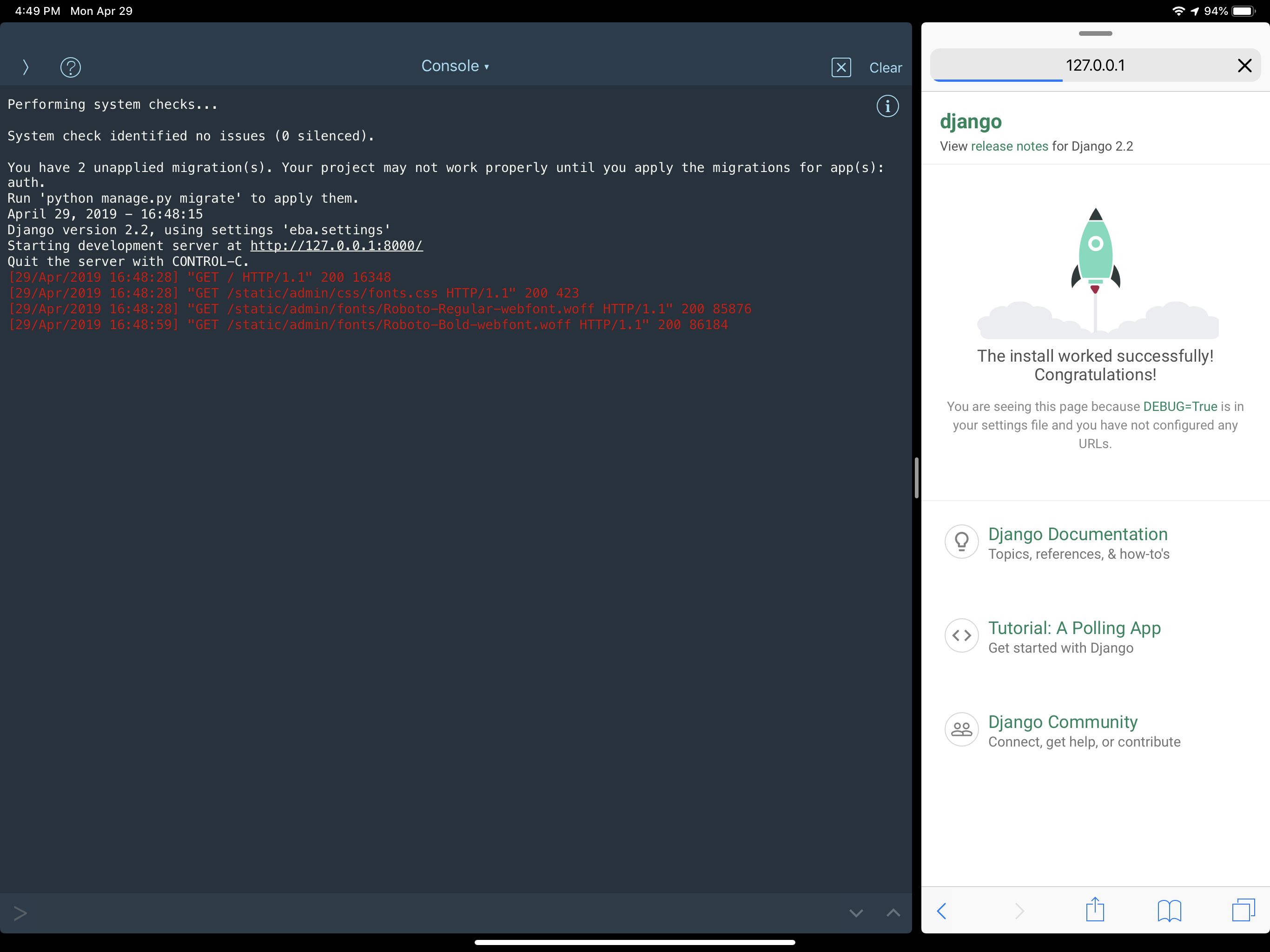 Django Development on an iPad Pro - heaveyduty com